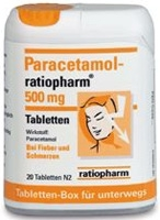 PARACETAMOL-ratiopharm 500 mg Tabletten Box